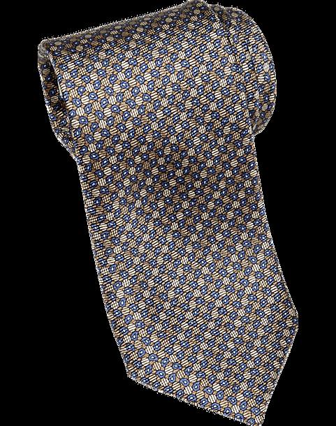 8aa2364bb Joseph Abboud Taupe   Navy Geometric Narrow Tie - Men s Accessories ...