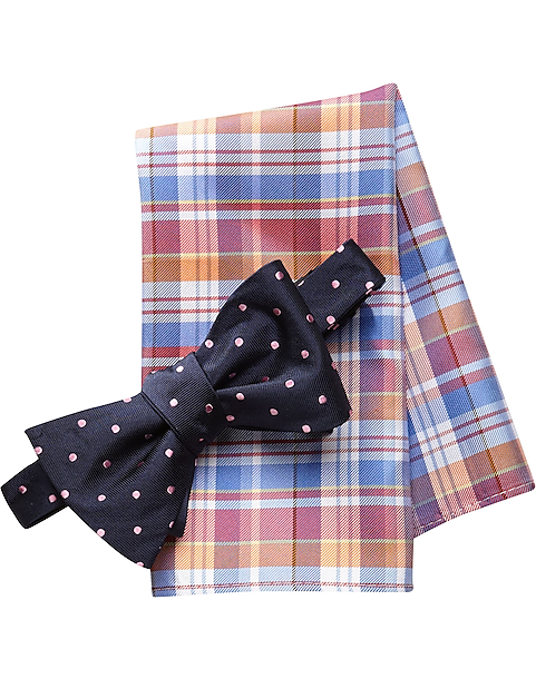 355643cd577f Tommy Hilfiger Navy and Pink Dot Bow Tie and Plaid Pocket Square Set - Mens  Home