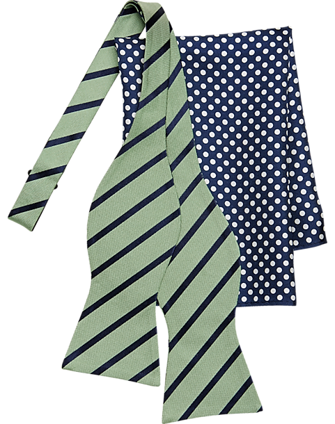 2820cc968 Tommy Hilfiger Green Stripe with Navy Dot Bow Tie & Pocket Square Set
