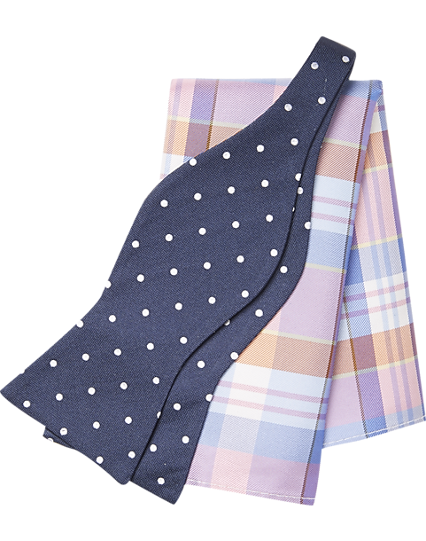 a54b89323a50 Tommy Hilfiger Navy Dot with Pink Plaid Bow Tie & Pocket Square Set - Men's  Accessories   Men's Wearhouse