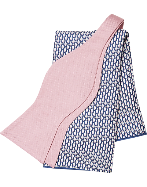 71df5b99d Tommy Hilfiger Pink with Navy Fish Bow Tie & Pocket Square Set ...