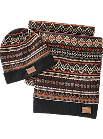 Ben Sherman Black Patterned Beanie & Scarf Set
