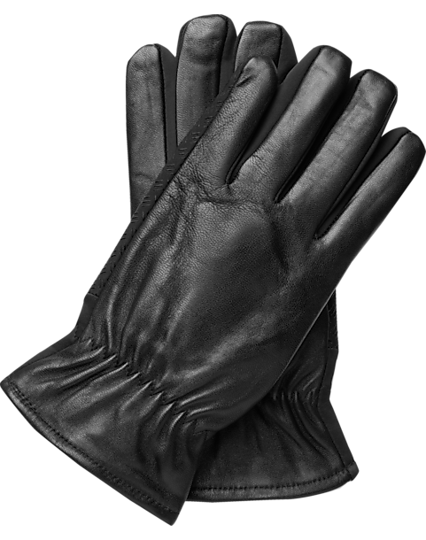 Men's Wearhouse Black Touchscreen Technology Leather Gloves