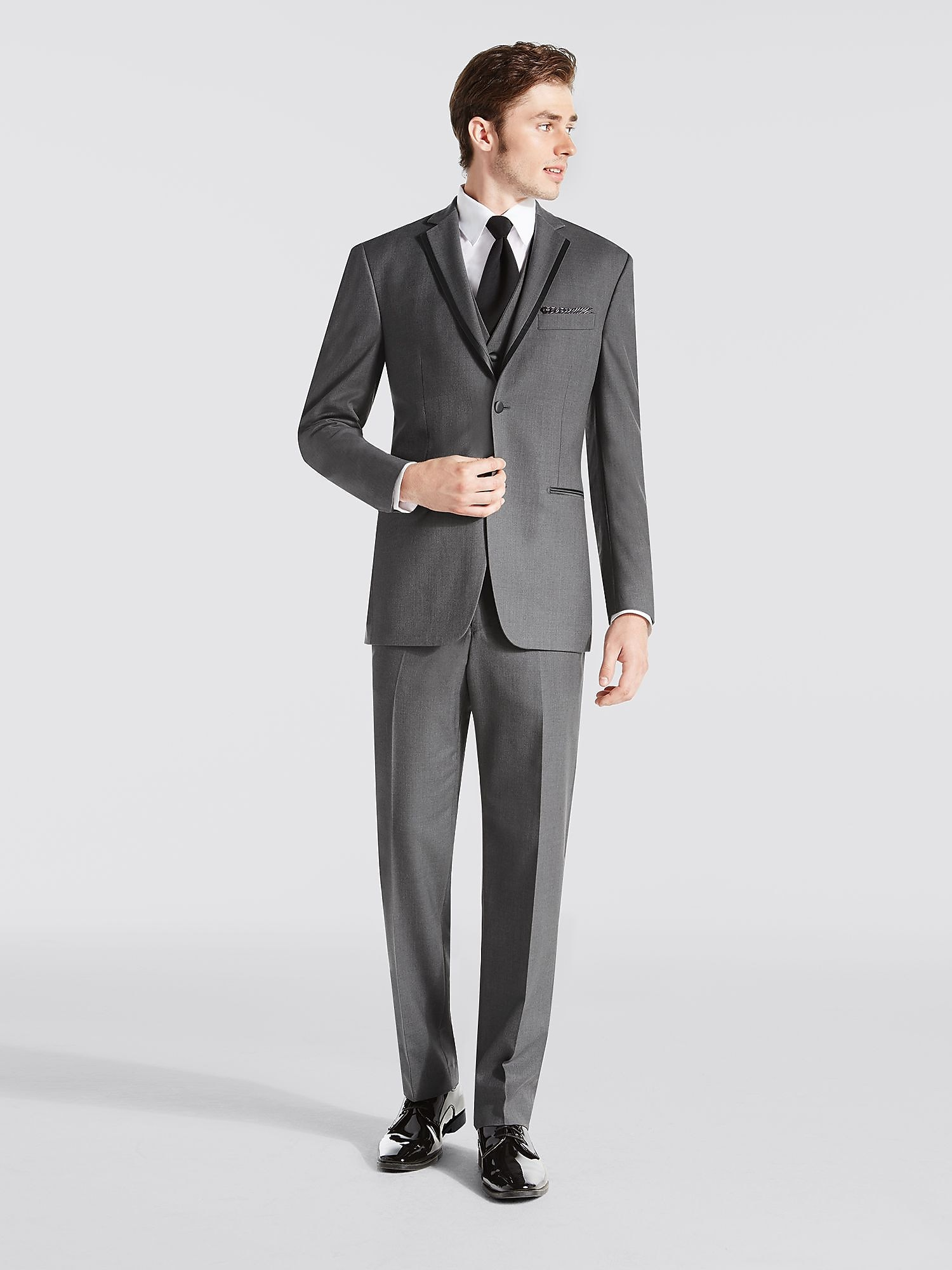Gray notch lapel tux black by vera wang tuxedo rental for Tuxedo house