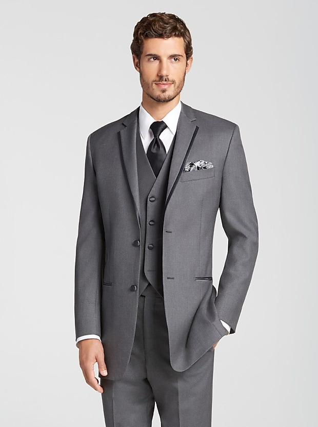 Joseph Abboud Dark Gray Satin Edged Notch Lapel