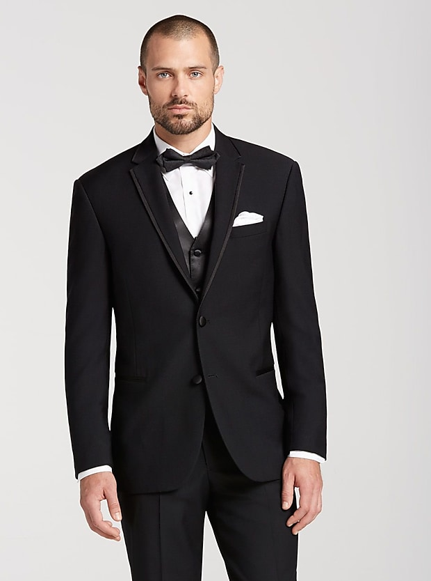 Wedding tuxedos wedding suits for men groom mens wearhouse calvin klein black satin edged notch lapel junglespirit Choice Image