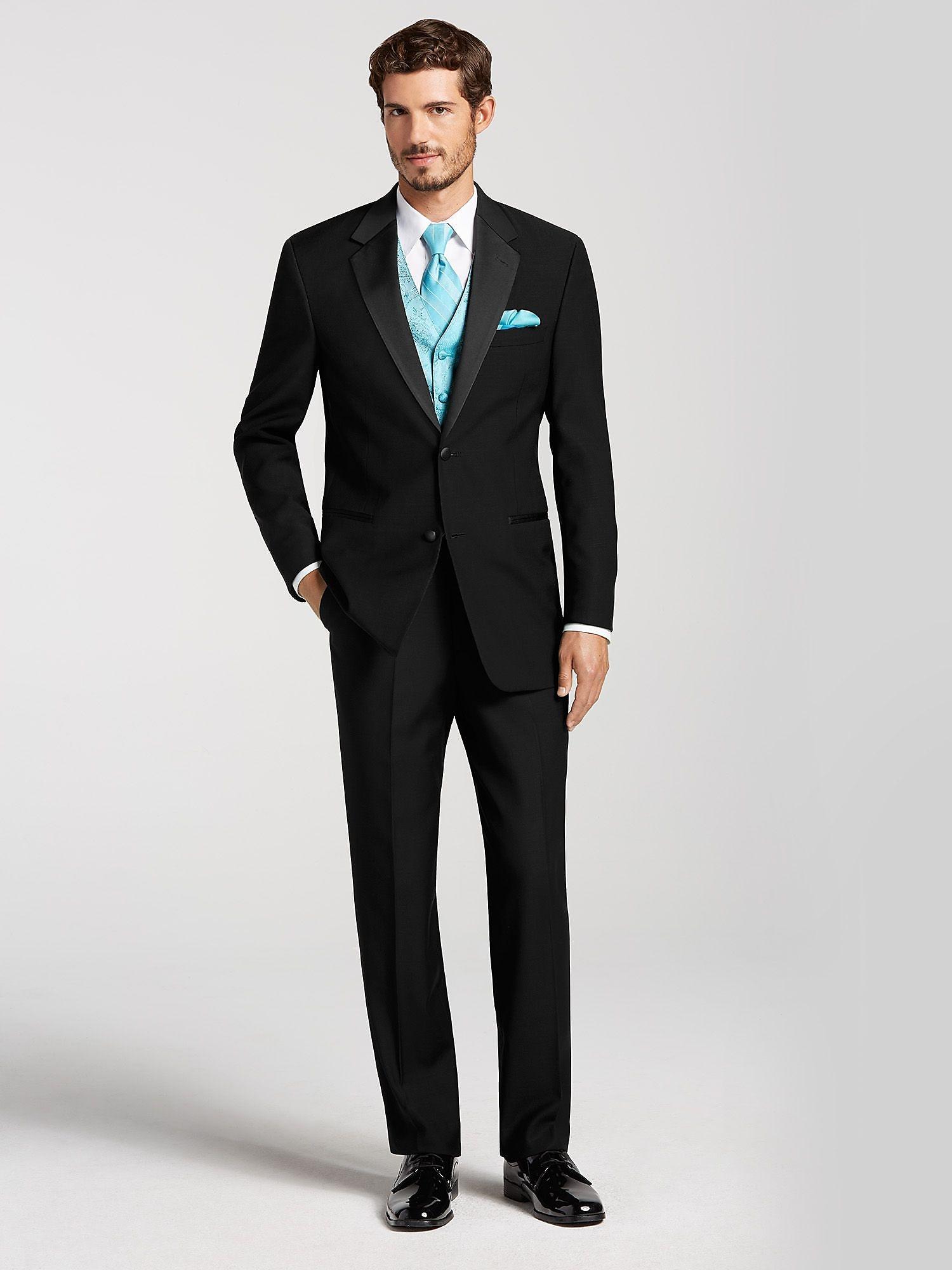 Two button black tuxedo by calvin klein tuxedo rental for Tuxedo house