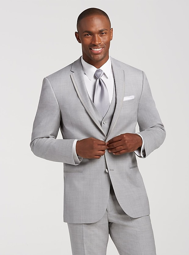 Joseph Abboud Light Gray Satin Edged Notch Lapel