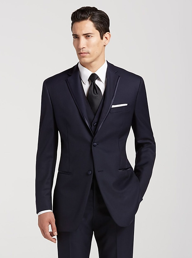 Joseph Abboud Navy Satin Edged Notch Lapel