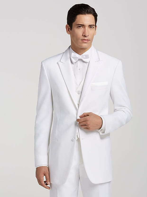 Pronto Uomo White Satin Edged Peak Lapel