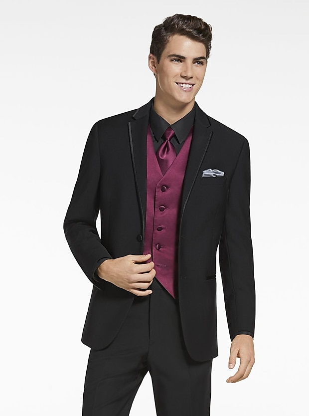 Tuxedo rental mens tuxedos for rent mens wearhouse calvin klein black satin edged notch lapel junglespirit
