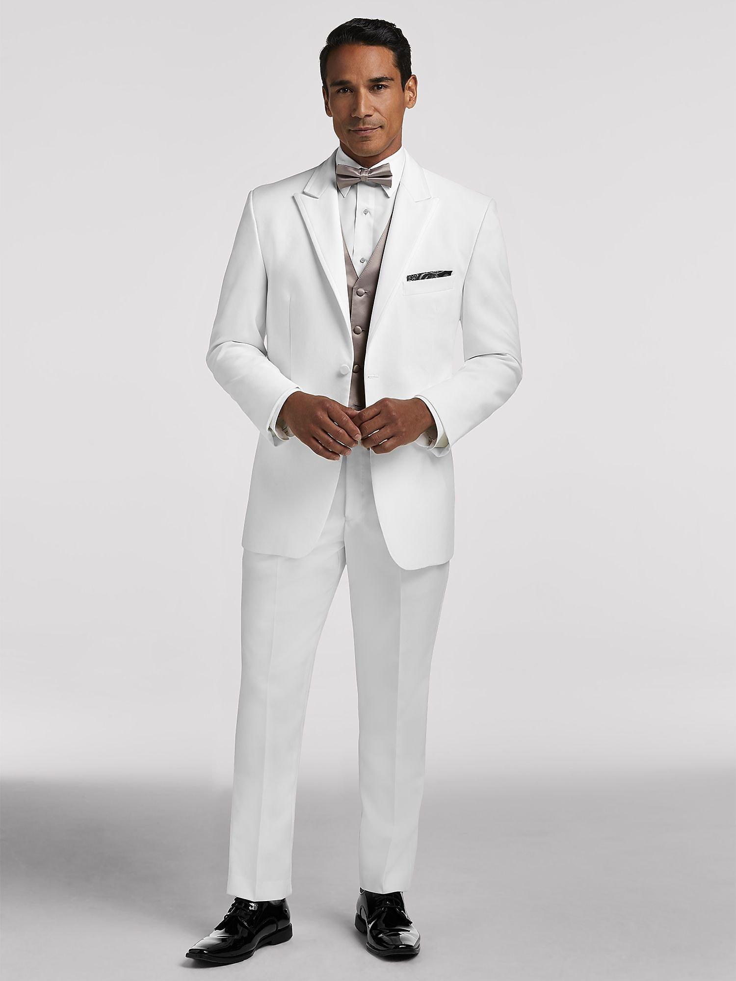 3243345e940a77 White Satin Edged Lapel Tux by Pronto Uomo | Tuxedo Rental | Men's ...